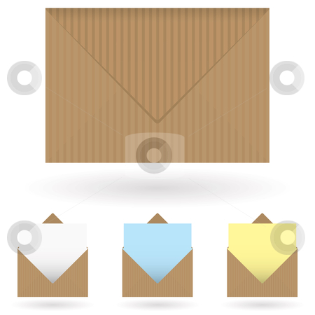 Envelopes brown stock vector clipart, Brown striped envelope with shadow and single piece of paper by Michael Travers