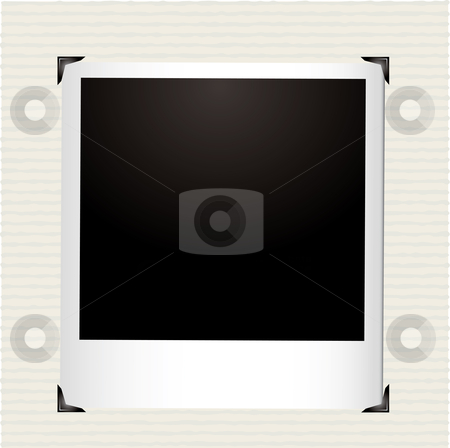 Instant picture corner stock vector clipart, Single instant picture in a photo album with corner frame by Michael Travers