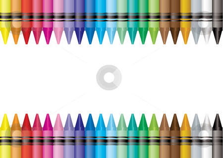 Border crayon stock vector clipart, Brightly colored crayon border with room to add your own text by Michael Travers