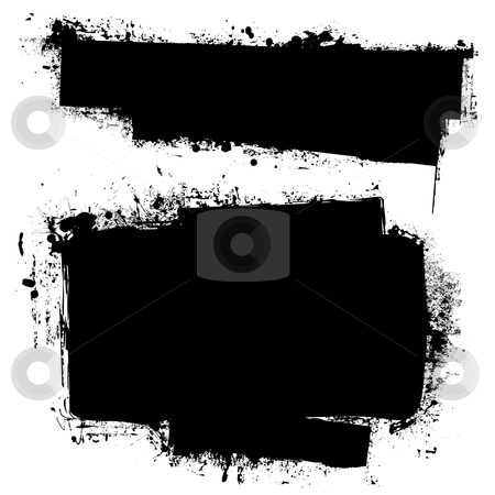 Grunge black ink banner stock vector clipart, Black ink banners with grunge effect and copy space for your text by Michael Travers