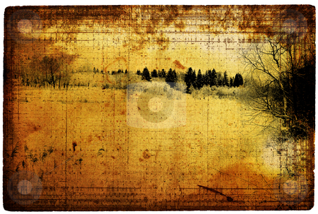 Old turned yellow paper with a dark landscape stock photo, Old turned yellow paper with a dark landscape by Olga Drozdova