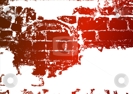 Old brick wall, stained whitewash stock vector clipart, Old brick wall, stained whitewash and a place for the text by Olga Drozdova