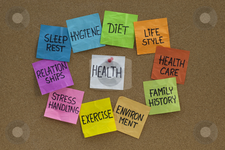 Health concept - cloud of related words and topics stock photo, Health concept - word cloud or circle of contributing factors (diet, lifestyle, healtcare, family history, environment, exercise, stress, relationships, sleep, rest, hygiene), colorful sticky notes on cork bulletin board by Marek Uliasz
