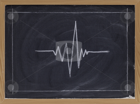 Signal graph on blackboard stock photo, Signal graph sketched with white chalk on blackboard with eraser patterns by Marek Uliasz