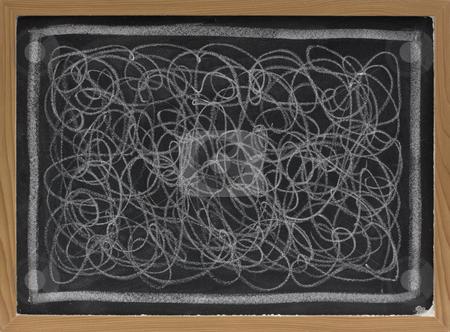 White chalk scribble on blackboard stock photo, Child art - white chalk chaotic scribble abstract on blackboard by Marek Uliasz