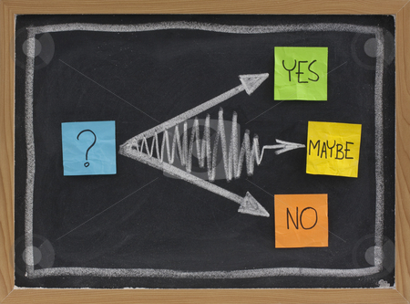 Yes, no, maybe - hesitation concept stock photo, Yes, no, maybe - hesitation or undecided concept, color sticky notes and white chalk drawing on blackboard by Marek Uliasz