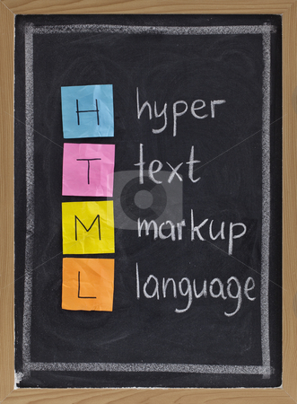 Hyper text markup language - html stock photo, Html (hyper text markup language) acronym explained on blackboard, color sticky notes and white chalk handwriting by Marek Uliasz