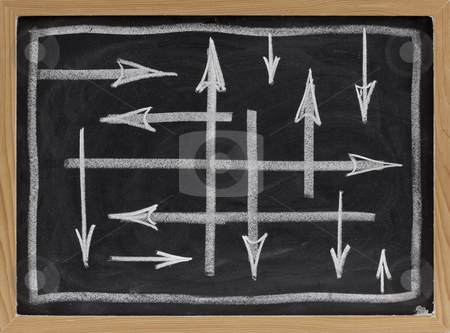 Random directions - vector abstract on blackboard stock photo, Random or confusing directions concept - white chalk arrows on blackboard by Marek Uliasz