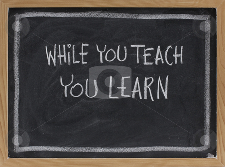 While you teach, you learn stock photo, While you teach, you learn - white chalk handwriting on blackboard by Marek Uliasz
