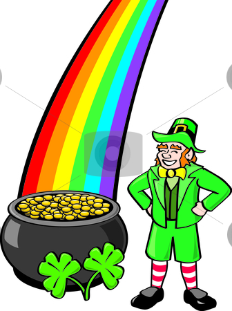 Leprechaun, Pot o' Gold, Shamrocks and Rainbow stock vector clipart, Common St. Patrick's Day elements assembled into one file. by Jamie Slavy