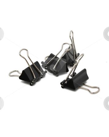 Binder clip on white background stock photo, Document clip clamp isolated on white background by Valerij Kotulskij