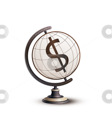 Global Currency Dollar stock photo, Globe standing on money. Hi-res digitally generated image. by Seeni Vasagams