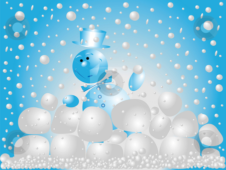 Snowman playing  snowballs stock photo, Snowman playing snowballs on a blu background by Alina Starchenko