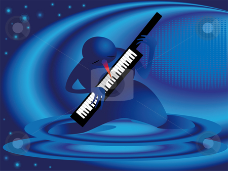 Snowman and piano stock photo, Snowman playing musical instruments on a abstrakt background by Alina Starchenko