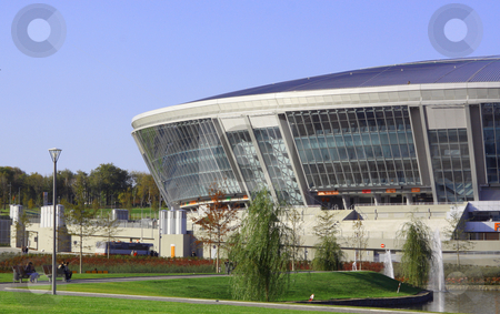 Stadium from glass and metal stock photo, The stadium is constructed of glass and metal for football by Valerij Kotulskij