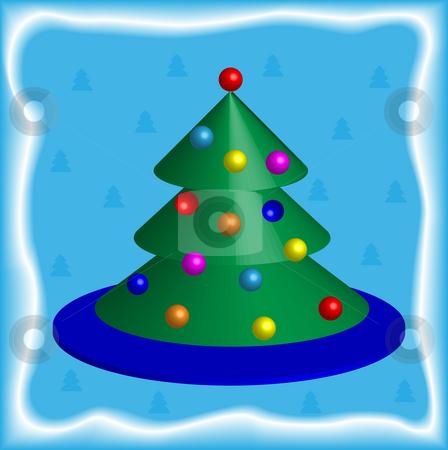 Christmas pine stock photo, Hristmas pine on a blue background by Alina Starchenko