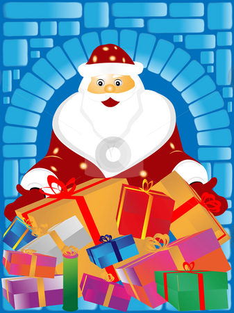 Santa Claus and gifts stock photo, Santa Claus and gifs on a blue background by Alina Starchenko