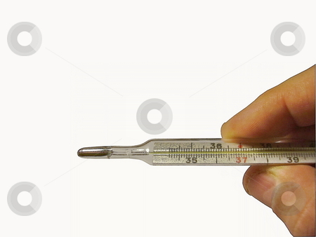 Hand with thermometer stock photo, Hand with thermometer by Sergey Gorodenskiy