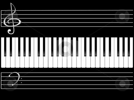 Piano keys stock photo, The piano keyboard on black background by Alina Starchenko