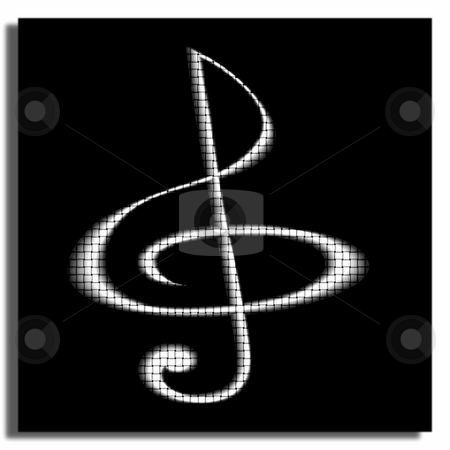 Musikal glef stock photo, Treble clef of metal colour against black sguare by Alina Starchenko