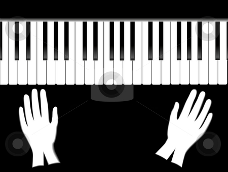 The piano and gloves stock photo, Keys of grand piano and white gloves on black background by Alina Starchenko