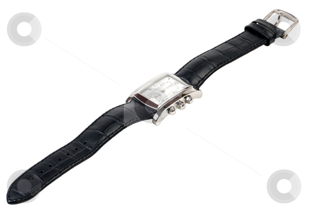 Watch. stock photo, Watch with a leather strap on a white background. by Vladimir Blinov