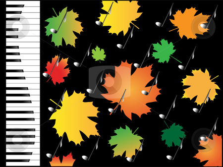AUTUMN MELODY stock photo, Autumn leaves and musical note on a abstract background of piano by Alina Starchenko