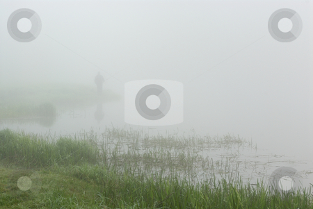 Morning on the River stock photo, Fishermen on the river early in the morning, before sunrise by Vladimir Blinov