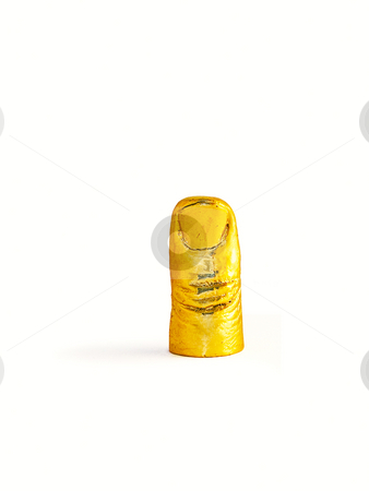 Gold finger stock photo, Gold thumb finger on isolated background pointing upward by Pavel Filippov