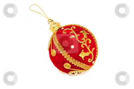 Red and Golden holiday Bauble stock photo, Big red christmas bauble with golden ornament on isolated background by Pavel Filippov