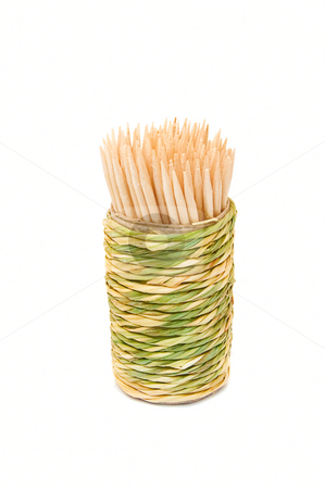 Organic toothpick dispenser stock photo, Strow toothpick dispenser with toothpicks. Organic and handmade by Pavel Filippov