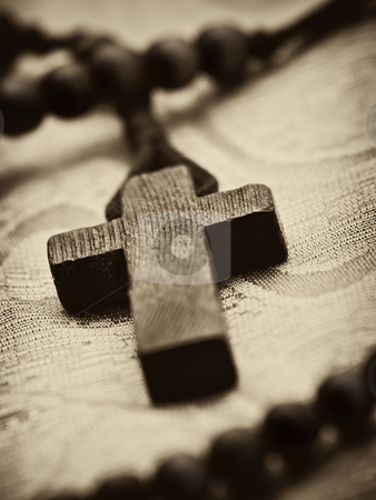 Wooden rosary cross stock photo, Rosary cross closeup, shallow DOF , sepia toned by Vladimir Koletic