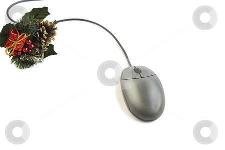 Time to make gifts. stock photo, Time to make gifts. Computer mouse and Christmas decoration  isolated over white. by Liana Bukhtyyarova