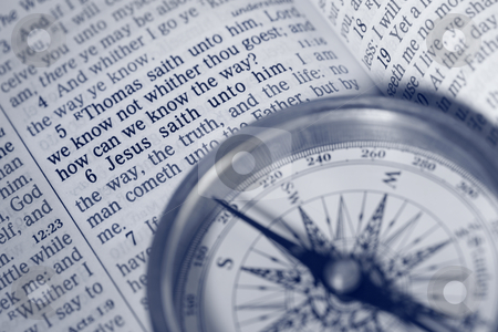 The way of Life stock photo, The way of Life - compass, bible by Leah-Anne Thompson