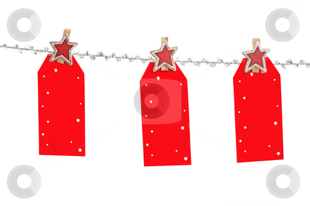 Christmas Tags stock photo, Three Christmas tag hang from silver line.  , blank with space for your own message. by Leah-Anne Thompson