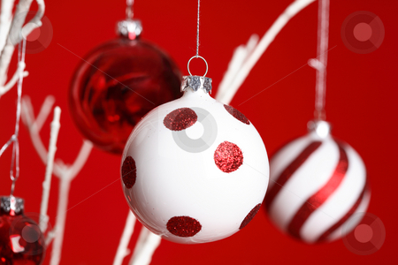 Christmas Baubles hanging  stock photo, Christmas baubles hanging from white tree branches against a red backdrop - closeup. Specific focus to foreground ball. by Leah-Anne Thompson