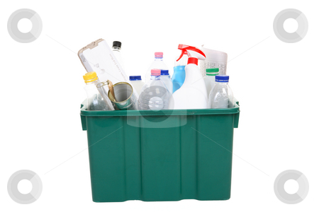 Recycling stock photo, Recycling bin full of plastic bottles, containers, tins and paper products. by Leah-Anne Thompson