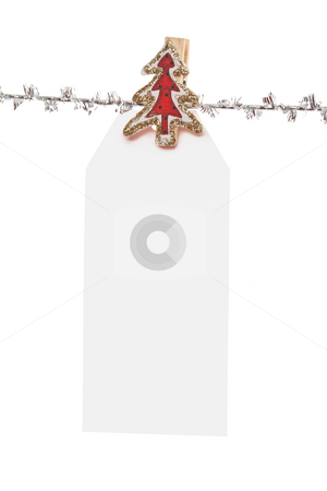 Single Tag stock photo, One single large  christmas tag  pegged to a silver line by Leah-Anne Thompson
