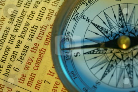 Compass and bible stock photo, The way to God by Leah-Anne Thompson
