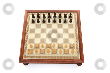 Chess game board stock photo, Above view of chess game board and playing pieces by Leah-Anne Thompson