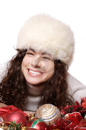 A model with christmas decorations stock photo, A teen model with christmas tree decorations by Remy Musser