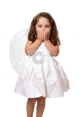 Little angel girl with hands covering her mouth stock photo, Little angel or fairy girl giggling with two hands covering her mouth by Leah-Anne Thompson