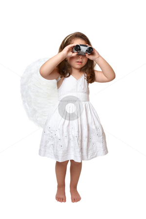 Heavenly angel looking watching through binoculars stock photo, A heavenly angel girl in white dress and feathered wings using binoculars to look, keep watch or see something by Leah-Anne Thompson