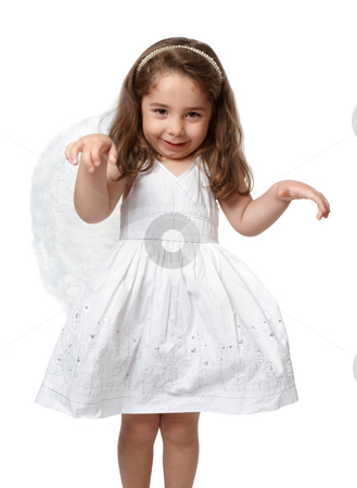 Little Angel Child stock photo, Angelic young preschool child in a pretty white dress with flower embroidery and she is wearing feather fairy angel wings by Leah-Anne Thompson