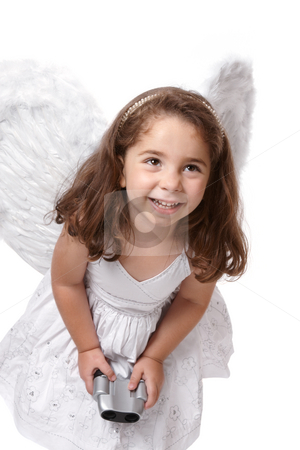 Smiling angel fairy with binoculars stock photo, Cheeky angel fairy wearing a white dress with silver embroidery and feathered wings.  She is holding binoculars. by Leah-Anne Thompson