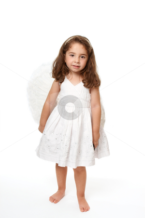Beautiful angel girl stock photo, Divine little angel standing on a white background. by Leah-Anne Thompson