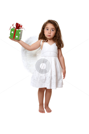 Little angel girl holding a present stock photo, Little girl in feathered angel wings and white dress holds a present or gift by Leah-Anne Thompson