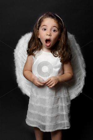 Angel singing carols or worship stock photo, Holy angel singing carols, psalms or praising or worshipping. by Leah-Anne Thompson