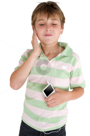 Enjoying music on the go stock photo, A child enjoys music from a portable player. by Leah-Anne Thompson