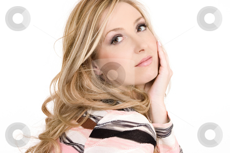 Woman casual thoughts stock photo, Relaxed woman sitting comfortably and thinking serene thoughts by Leah-Anne Thompson